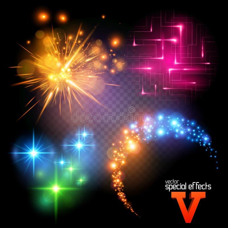 Os efeitos especiais do vetor ajustaram 5 ilustração do vetor