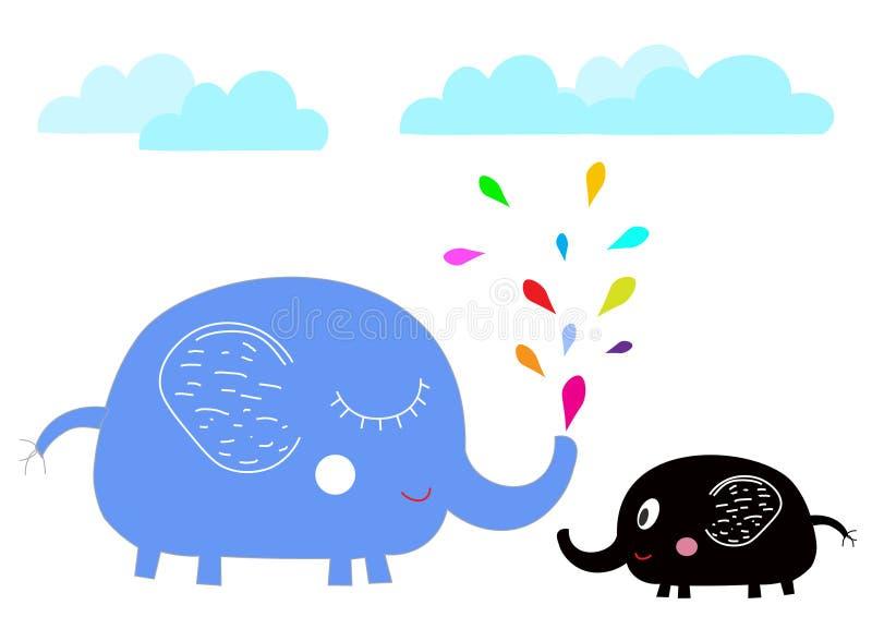 Os elefantes bonitos dos desenhos animados com respingo colorido molham gotas ilustração do vetor