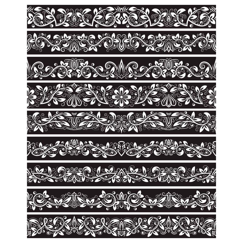 Os elementos brancos pretos do vintage para o vetor escovam a criação O jogo dos moldes das beiras para quadros projeta e pagina  ilustração do vetor