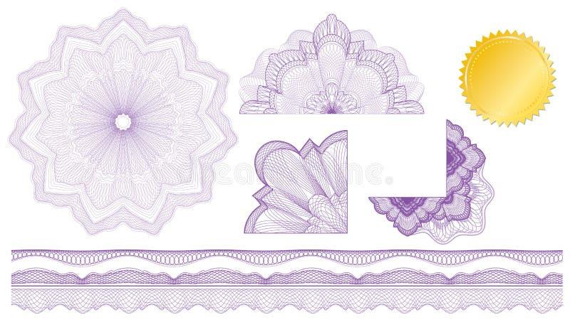 Os elementos clássicos do guilloche para fazem o diploma ilustração royalty free