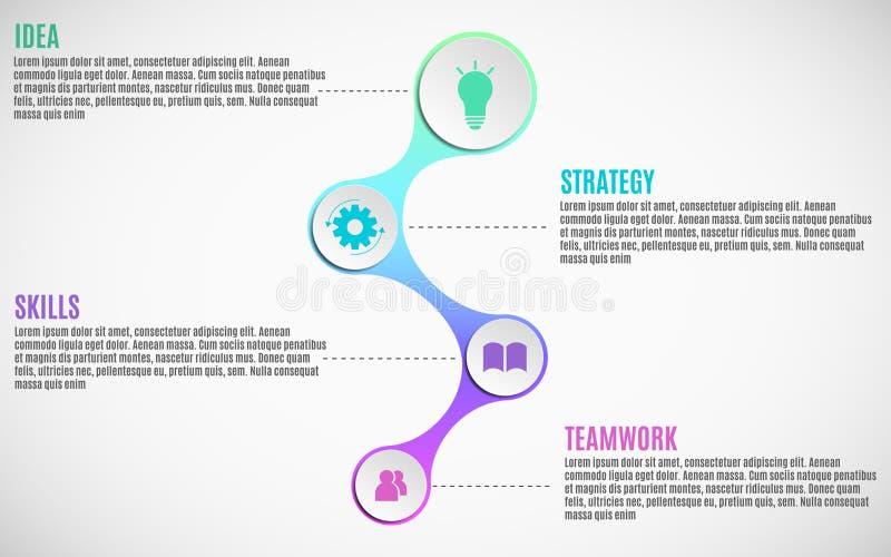 os elementos 3d do infographics para seu negócio projetam-se Papel vazio, círculos tridimensionais no metaball do estilo Estratég ilustração royalty free