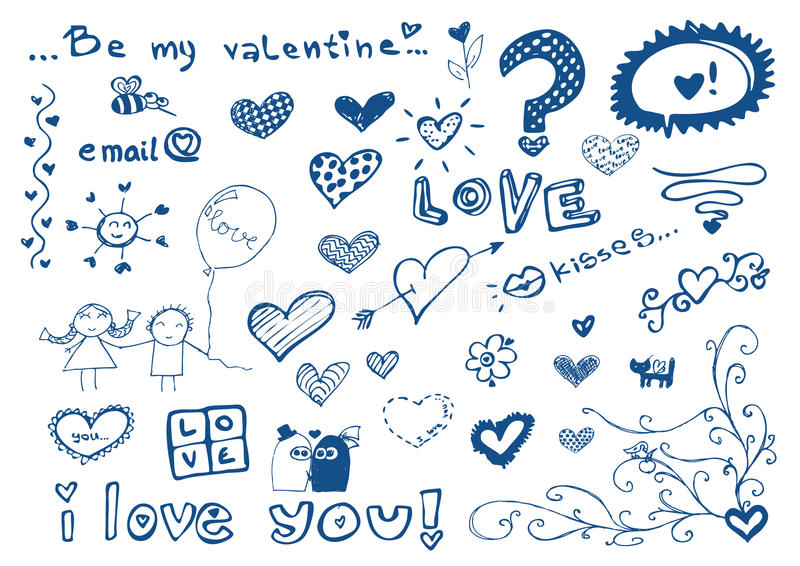 Os elementos da carta branca com amor/doodles ajustam-se/vetores ilustração do vetor