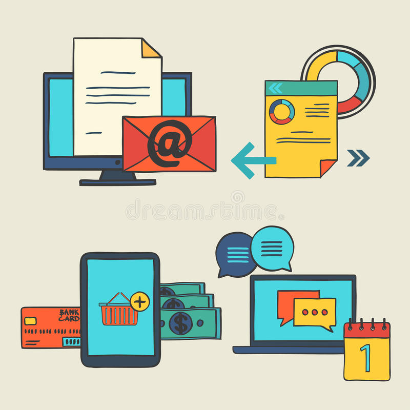 Os elementos da garatuja da tração da mão projetam ícones para a Web Grupo de conceitos do negócio - compra em linha do vetor, ed ilustração do vetor