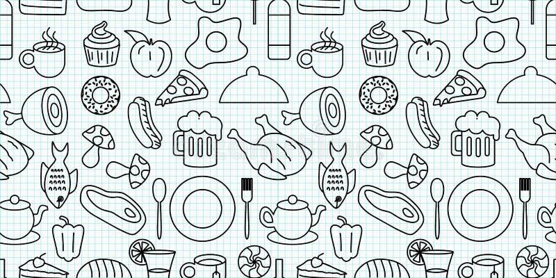 Os elementos da garatuja do alimento e da bebida objetam a ilustração sem emenda do vetor do teste padrão Linha preto e branco re ilustração stock