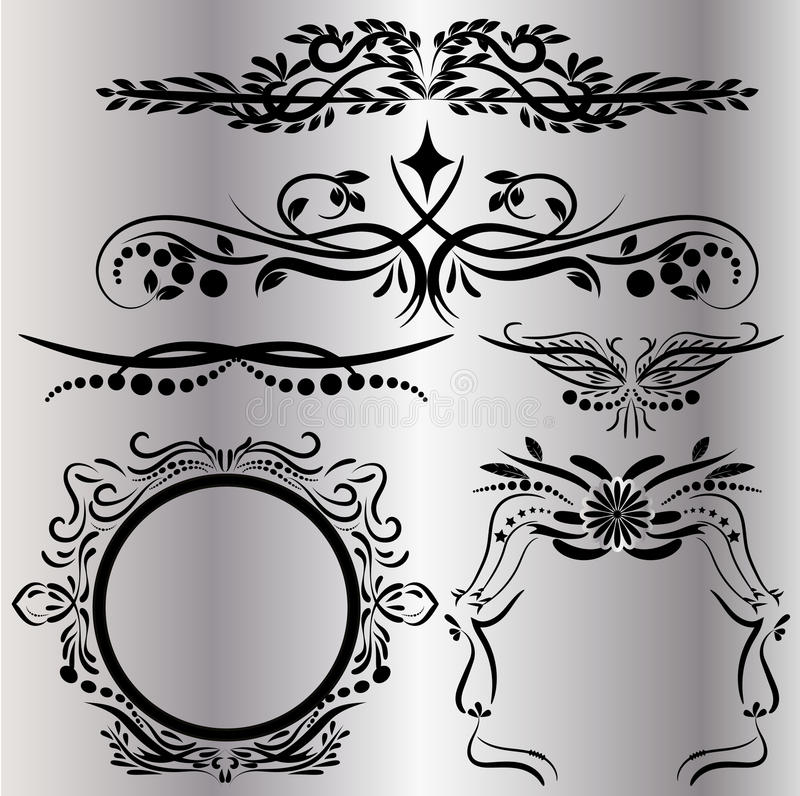 Os elementos das decorações do vintage florescem o fundo preto caligráfico dos ornamento e dos quadros ilustração do vetor