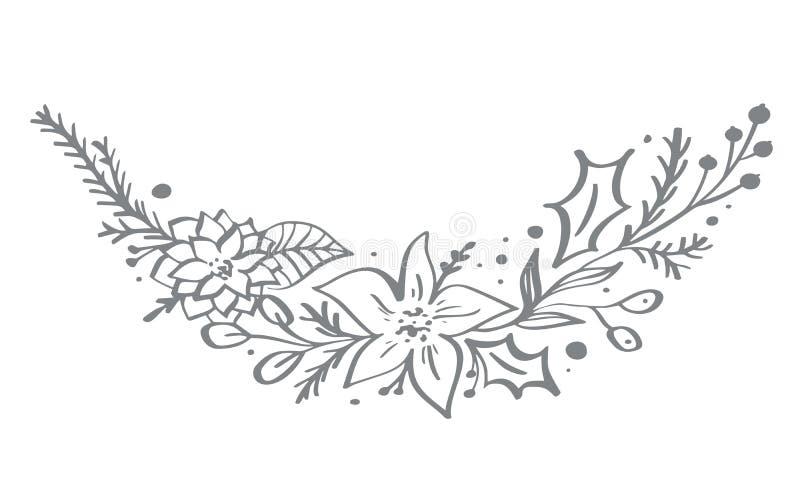 Os elementos de canto decorativos do Natal projetam com folhas florais e ramos no estilo escandinavo Handdraw do vetor ilustração stock