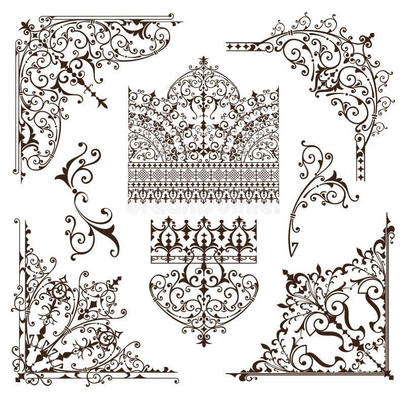 Os elementos decorativos das beiras orientais dos ornamento com cantos ondulam testes padrões e o quadro árabes e indianos ilustração stock
