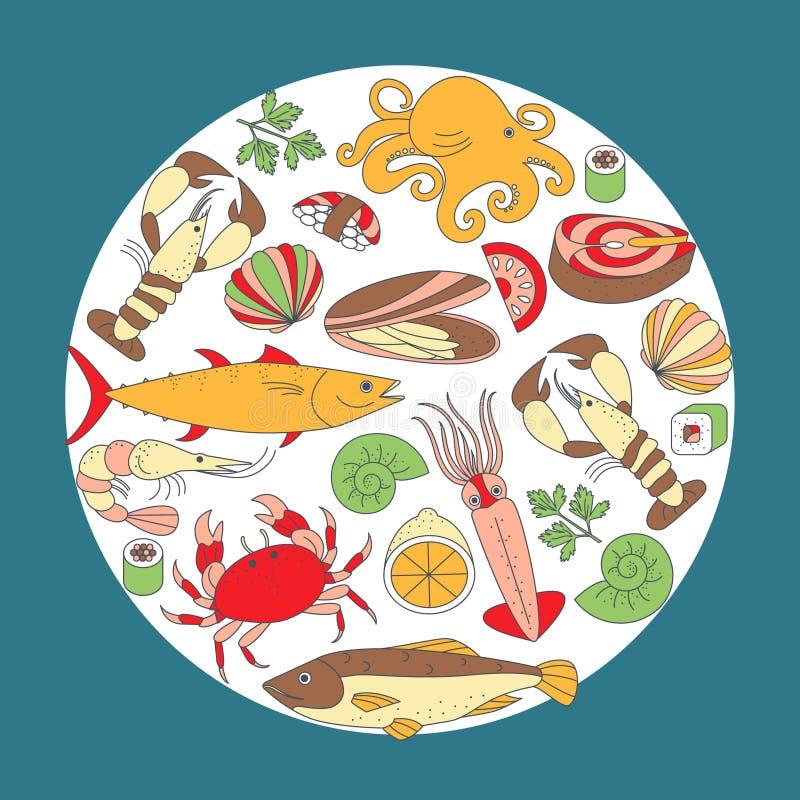 Os elementos do alimento de mar em um círculo dão forma ilustração royalty free