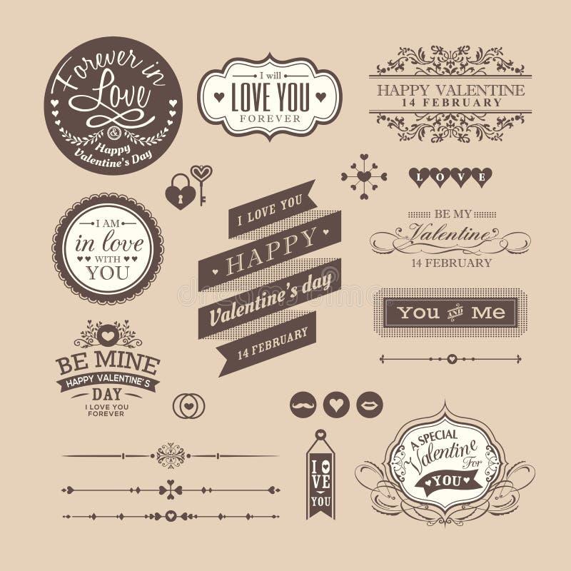 Os elementos do dia de Valentim etiquetam e moldam o estilo do vintage ilustração do vetor
