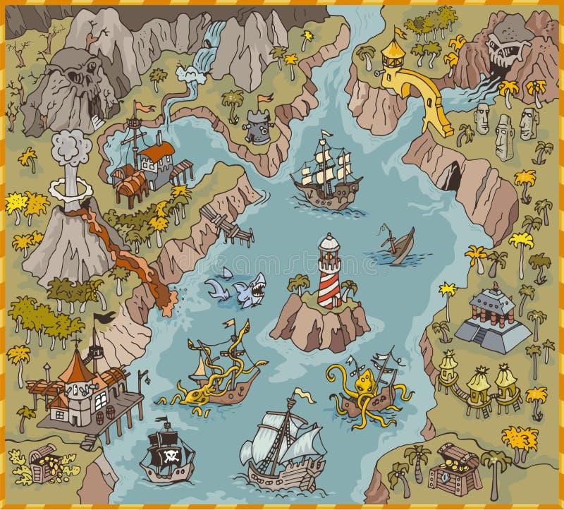 Os elementos do mapa do vetor do pirata da fantasia latem na ilustração e na tração coloridas da mão do reino do mistério ilustração do vetor