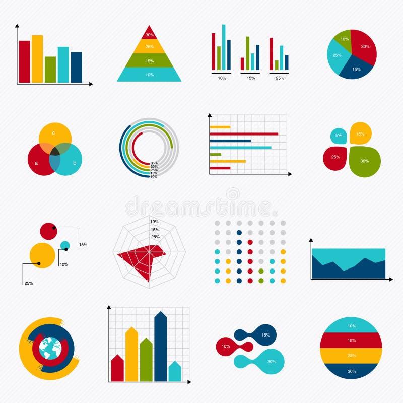 Os elementos do mercado dos dados comerciais pontilham diagramas dos gráfico de setores circulares da barra e GR ilustração do vetor