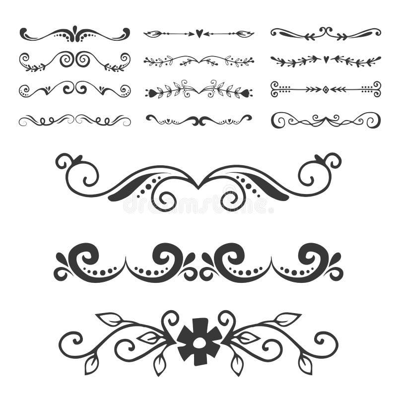 Os elementos do projeto do ornamento da tipografia do livro do divisor do decoratice do separador do texto vector o vintage que d ilustração stock