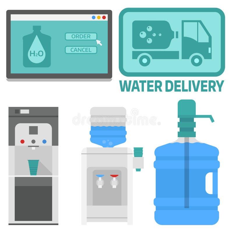 Os elementos do vetor da entrega da água bebem serviços a empresas azuis plásticos do recipiente da garrafa ilustração stock