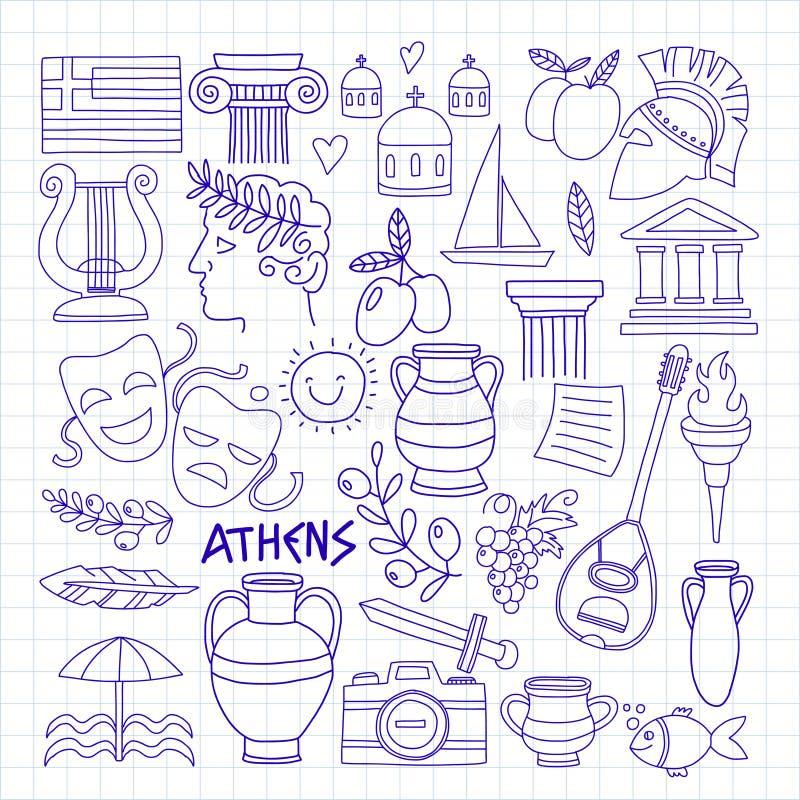 Os elementos do vetor de Grécia antigo no estilo da garatuja viajam, história, música, alimento, vinho ilustração royalty free
