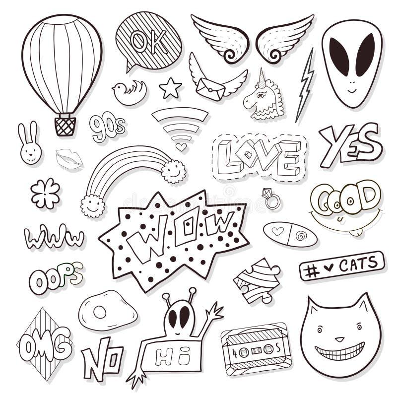 Os elementos femininos com estrangeiro, discurso borbulham, gaveta Linha grupo do vetor do ícone Etiquetas preto e branco dos des ilustração stock