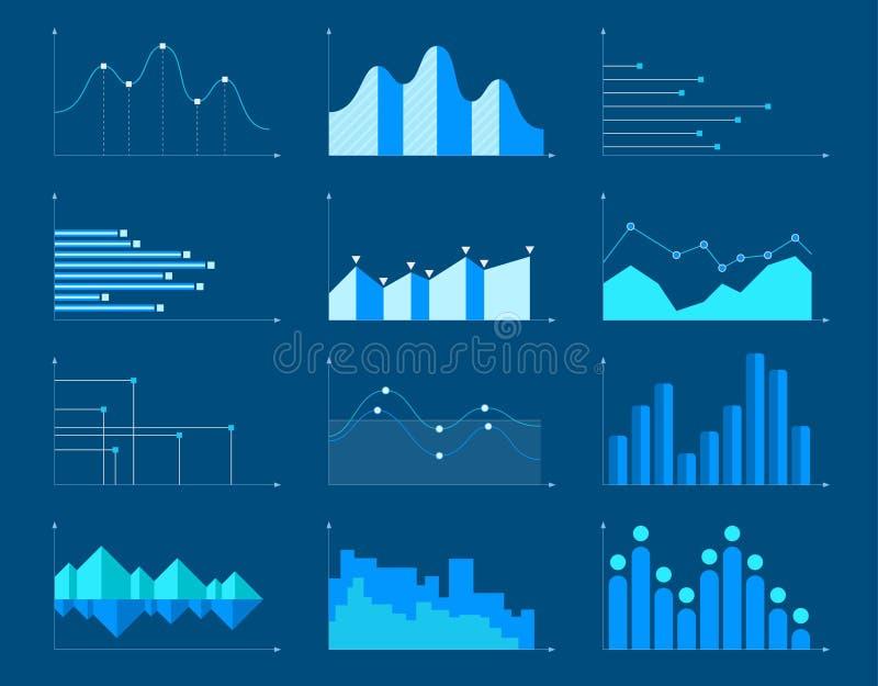 Os elementos infographic das cartas e dos gráficos de negócio vector a ilustração ilustração stock