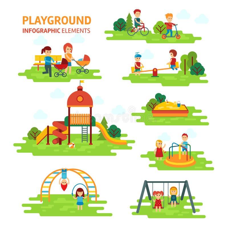 Os elementos infographic do campo de jogos vector a ilustração lisa, jogo de crianças no ar livre, na caixa de areia, nos meninos ilustração royalty free