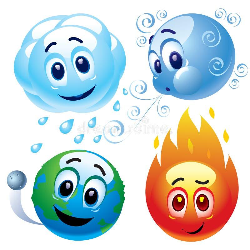 Os elementos naturais molham, enrolam, ligam à terra e despedem ilustração stock