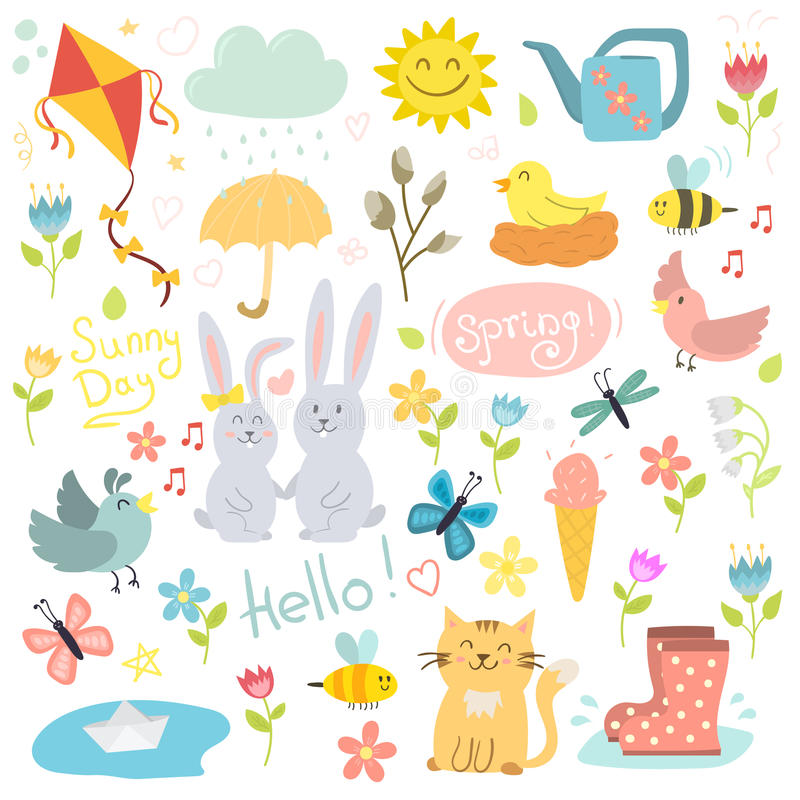 Os elementos tirados da mola mão ajustada florescem grinaldas dos pássaros e outros símbolos do verão vector a ilustração ilustração stock