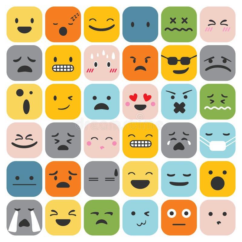 Os emoticons de Emoji ajustaram o vetor da coleção dos sentimentos da expressão da cara ilustração stock