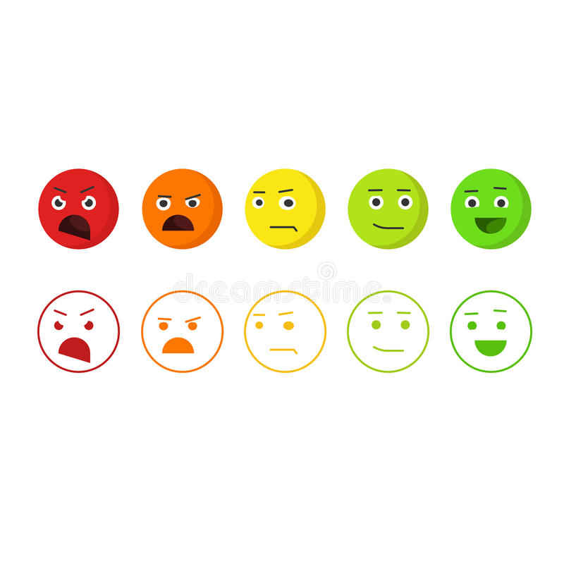 Os emoticons do feedback vector os ícones, conceito do emoji da avaliação de satisfação ilustração do vetor
