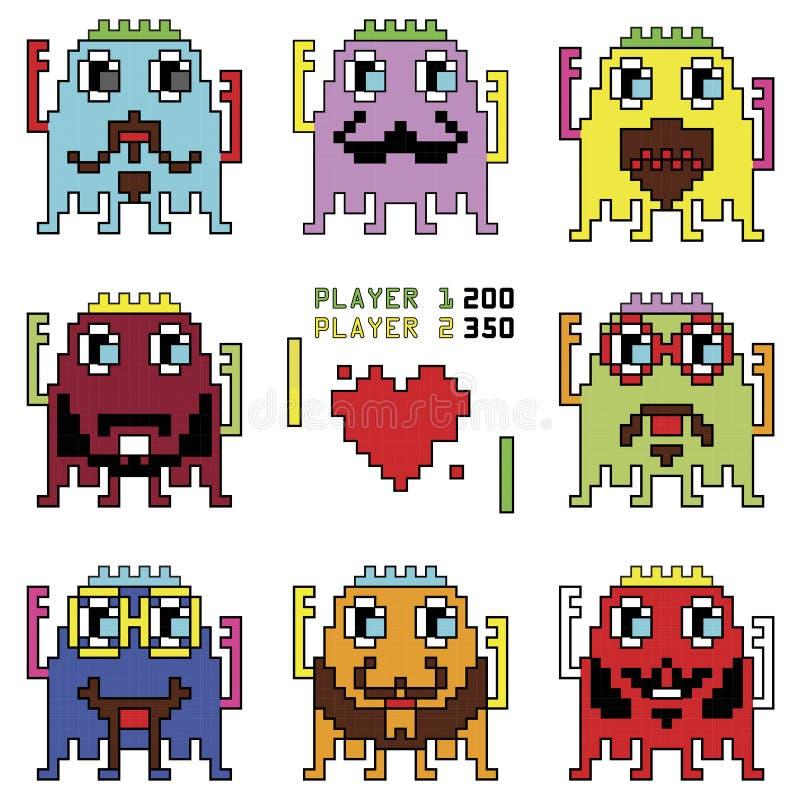 Os emoticons do robô do moderno de Pixelated com jogo de bola de batida simples com uma forma do coração inspiraram pelos jogos d ilustração stock