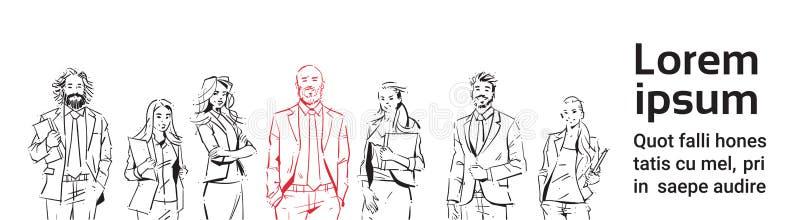 Os empresários do esboço team a estada no fundo branco, líder na frente da equipe de executivos bem sucedidos, grupo do retrato d ilustração royalty free