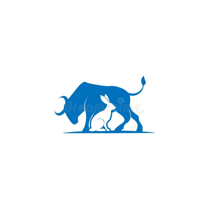 Os en Hazenembleemontwerp Vectorbeeld van een stierenontwerp op een witte achtergrond Embleem, Symbool Stier en konijn Logo Desig royalty-vrije illustratie