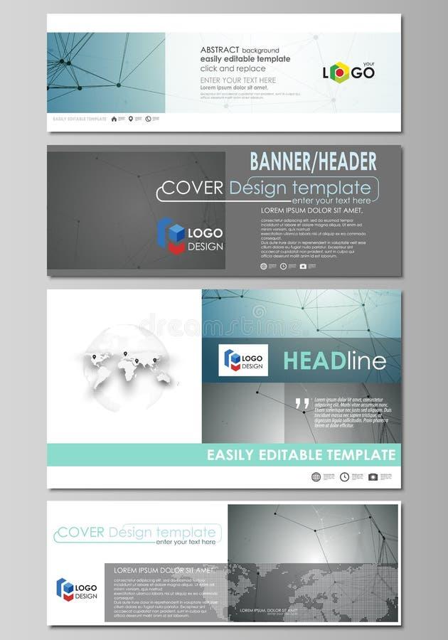 Os encabeçamentos sociais dos meios e do email ajustaram-se, bandeiras modernas ilustração stock