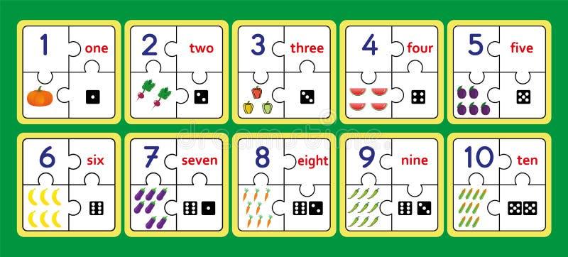 Os enigmas de contagem imprimíveis, trabalho do enigma da tira do número utilizam ferramentas o enigma, contando numeram 1 jogo 1 ilustração stock