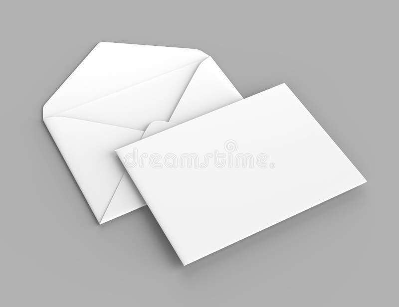 Os envelopes baroniais realísticos brancos vazios zombam acima ilustração da rendição 3d ilustração do vetor