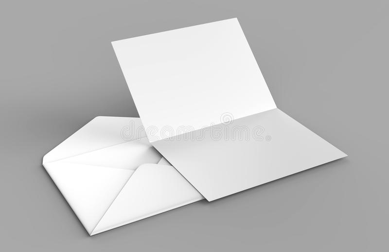 Os envelopes baroniais realísticos brancos vazios zombam acima ilustração da rendição 3d ilustração stock