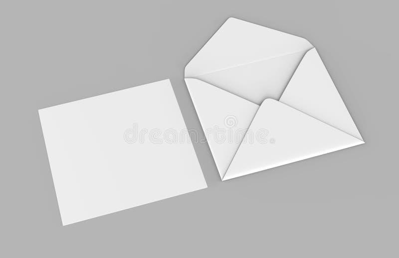 Os envelopes baroniais realísticos brancos vazios zombam acima ilustração da rendição 3d ilustração royalty free