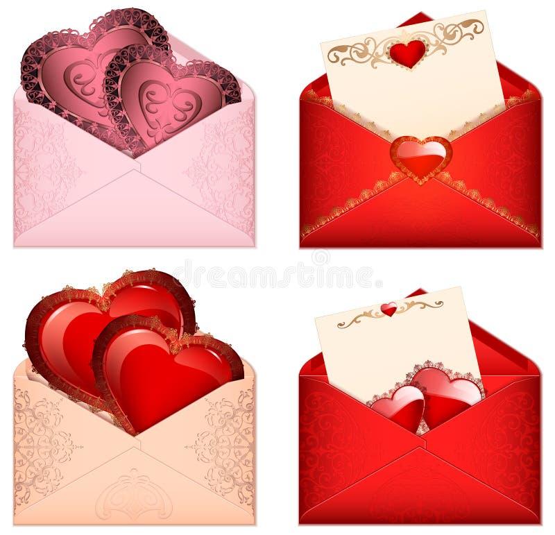 Os envelopes cor-de-rosa comemorativos com rosa dos corações dos Valentim abrem o envelope com corações roxos românticos e testes ilustração stock