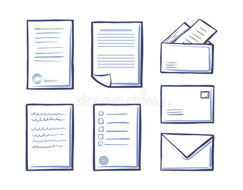 Os envelopes e os dobradores dos papéis do escritório isolaram ícones ilustração stock