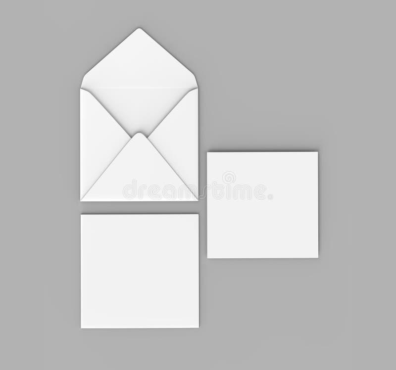 Os envelopes retos quadrados realísticos brancos vazios da aleta zombam acima ilustração da rendição 3d ilustração royalty free