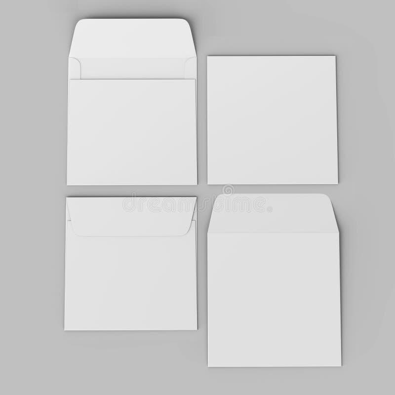 Os envelopes retos quadrados realísticos brancos vazios da aleta zombam acima ilustração da rendição 3d ilustração stock