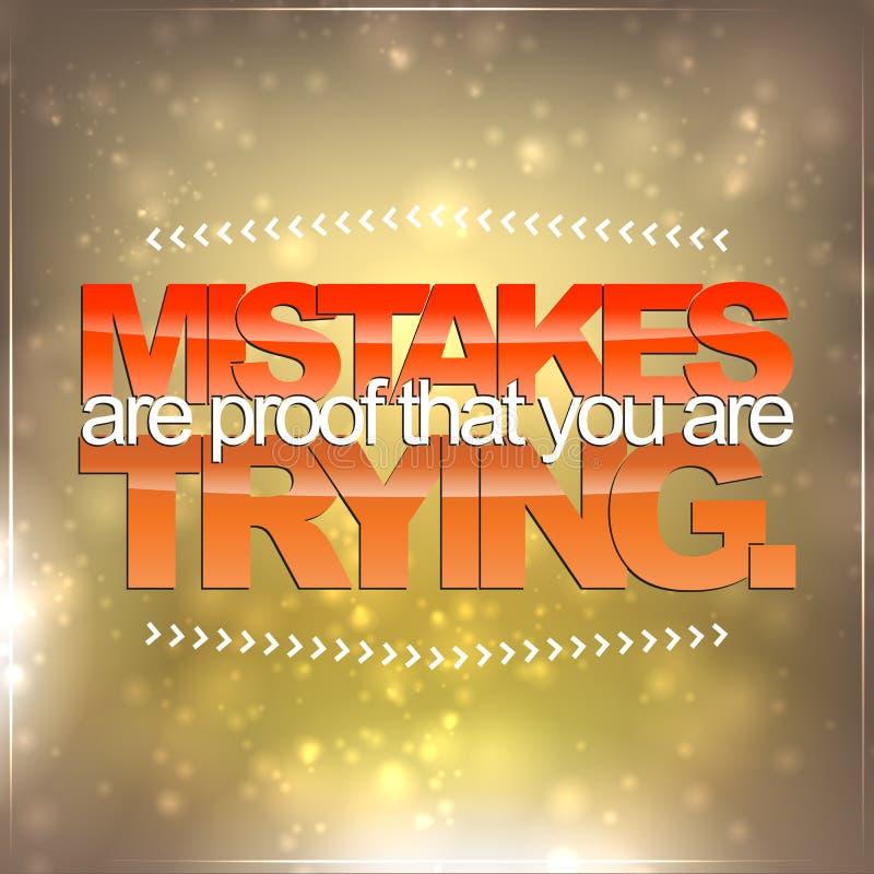 Os erros são a prova que você está tentando ilustração stock
