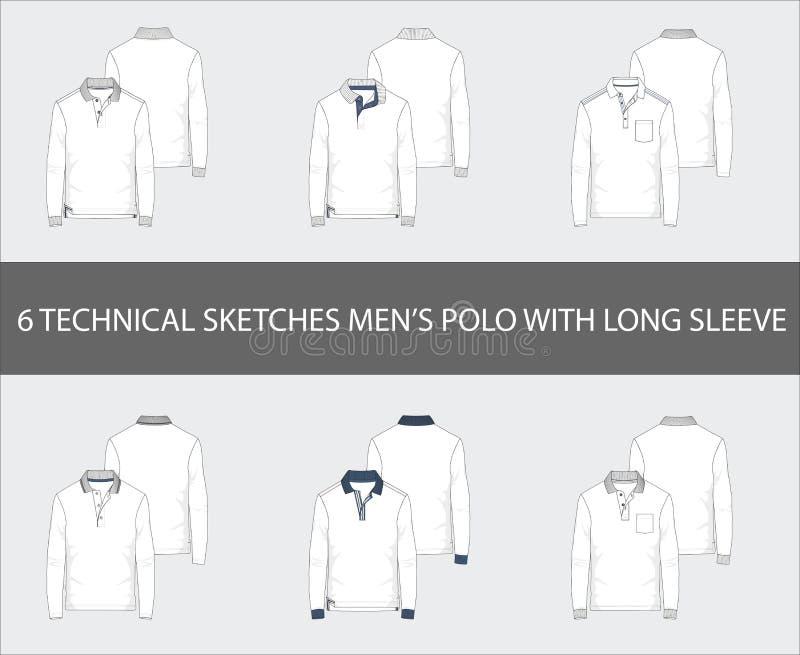 Os esboços técnicos da forma ajustaram-se da luva longa Polo Shirts do ` s dos homens ilustração do vetor