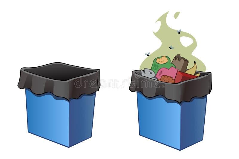 Os escaninhos de lixo, completamente e esvaziam ilustração do vetor