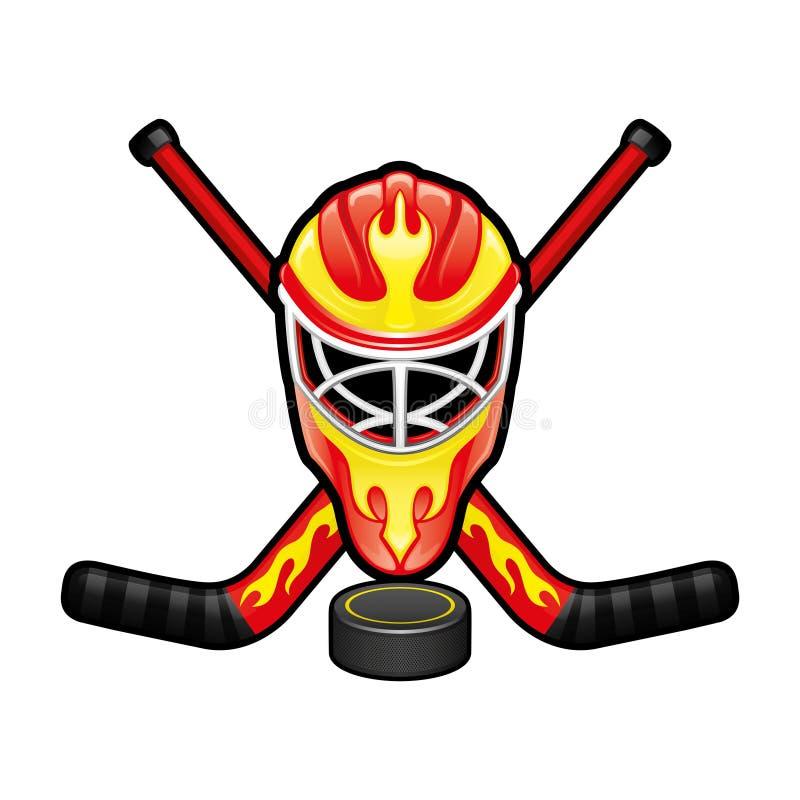 Os esportes assinam com um capacete do goleiros do hóquei ilustração stock