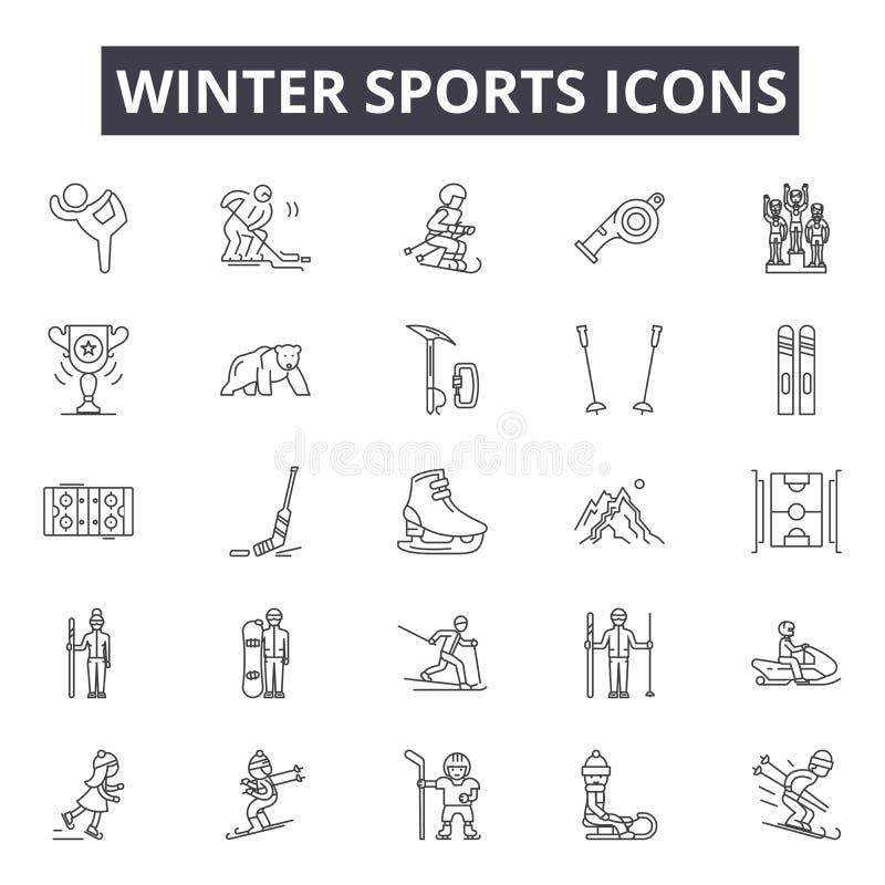 Os esportes de inverno alinham ícones, sinais, grupo do vetor, conceito da ilustração do esboço ilustração royalty free