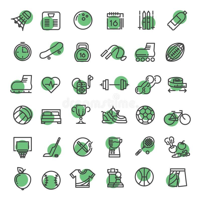 Os esportes e a aptidão esboçam a linha fina ícones do material desportivo dos símbolos do vetor ilustração do vetor