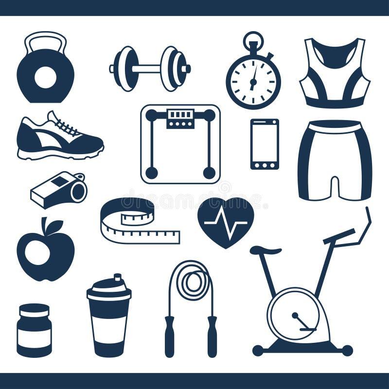 Os esportes e os ícones da aptidão ajustaram-se no estilo liso ilustração royalty free