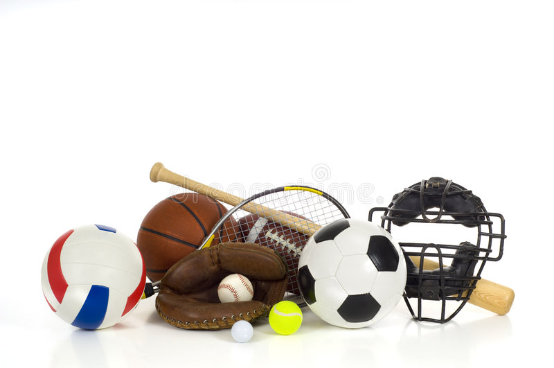 Os esportes engrenam no branco fotografia de stock royalty free