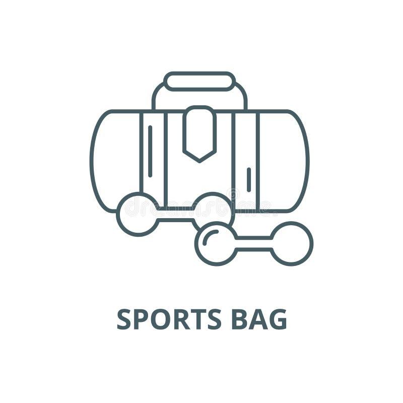 Os esportes ensacam a linha ícone do vetor, conceito linear, sinal do esboço, símbolo ilustração stock