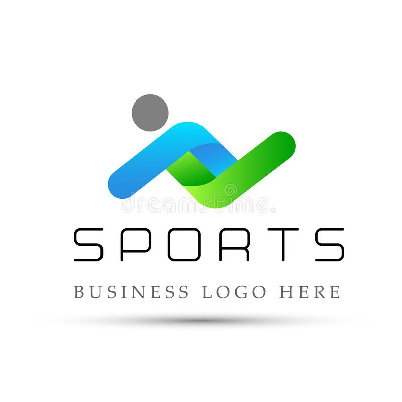 Os esportes malham o ícone do logotipo da aptidão no fundo branco ilustração stock