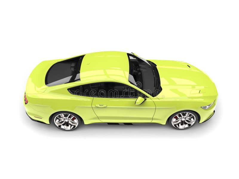 Os esportes modernos do verde-lima muscle a parte superior automobilístico veem para baixo ilustração royalty free