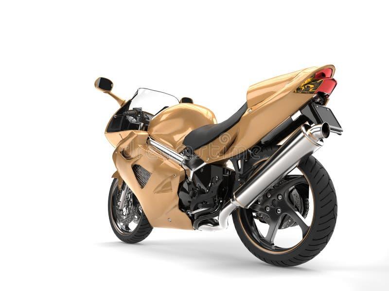 Os esportes modernos metálicos dourados bike - a vista lateral traseira ilustração do vetor