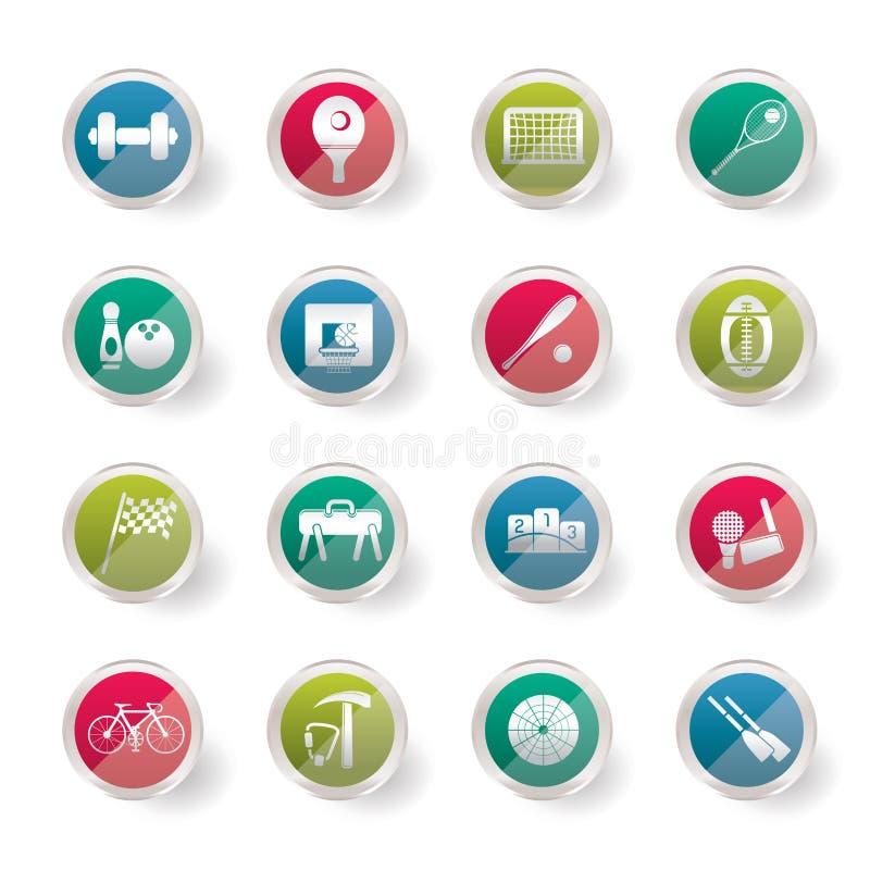 Os esportes simples estilizados alinham e utilizam ferramentas ícones sobre o fundo colorido ilustração royalty free